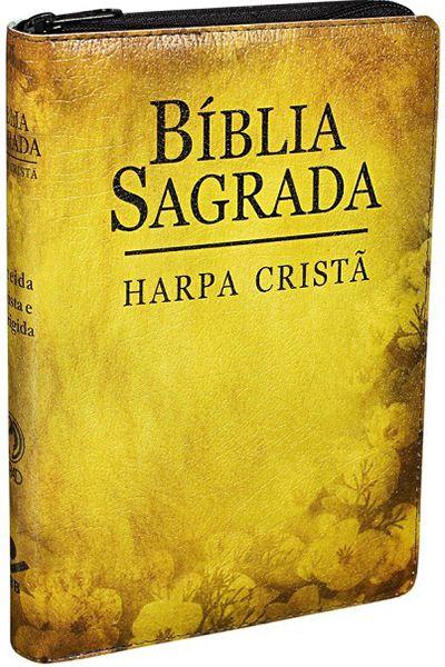 ARC065HLGZ - Bíblia Sagrada - Letra Grande - Harpa Cristã - Zíper - Flores Amarela