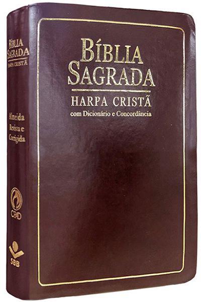 ARC065TIL - Bíblia Sagrada - Harpa Cristã - Dicionário e Concordância - Marrom Nobre