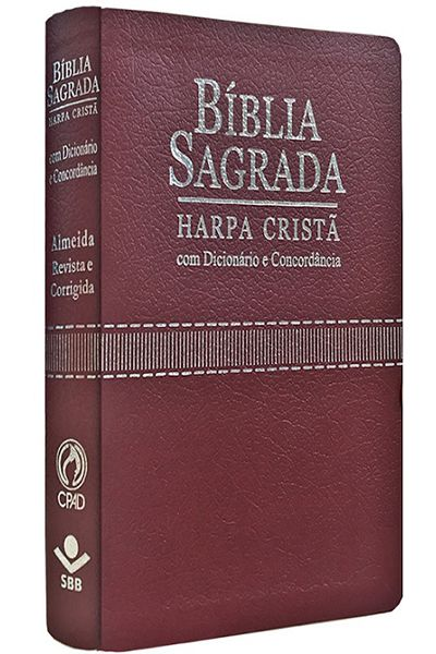 ARC065TILGLVCDH - Bíblia Sagrada - Harpa Cristã - Dicionário e Concordância - Vinho