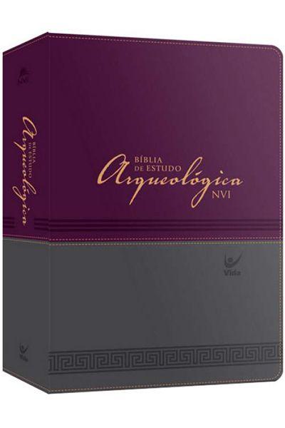 Bíblia de Estudo Arqueológica NVI - Luxo - Vinho e Cinza