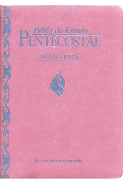 Bíblia de Estudo Pentecostal com Harpa Cristã - Pequena - Rosa