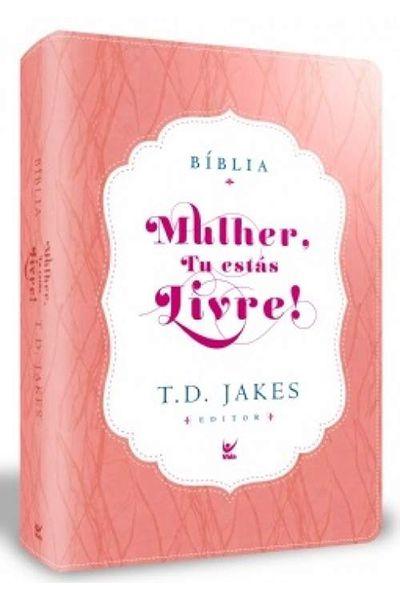 Bíblia Mulher, Tu Estás Livre - Luxo Rosa e Branco