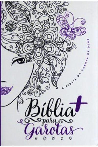 Bíblia Para Garotas - Branca Com Roxa - Capa Glitter
