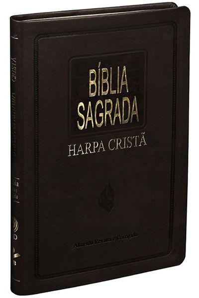 Bíblia Sagrada Com Harpa Cristã - Slim Marrom Nobre