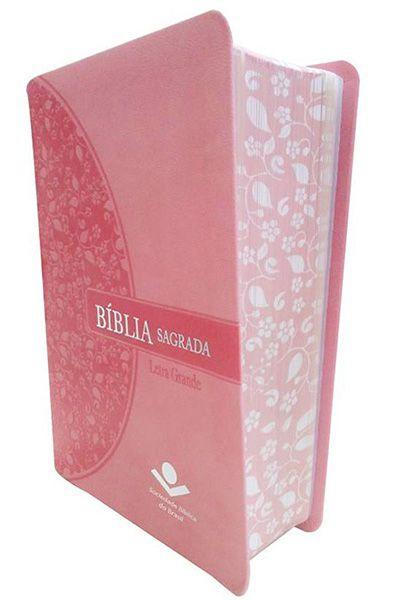 RA045LG: Bíblia Sagrada - Letra Grande - Rosa com Beira Florida