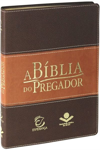 RA085BPREEE - A Bíblia do Pregador - Luxo - Grande - Marrom Claro e Escuro