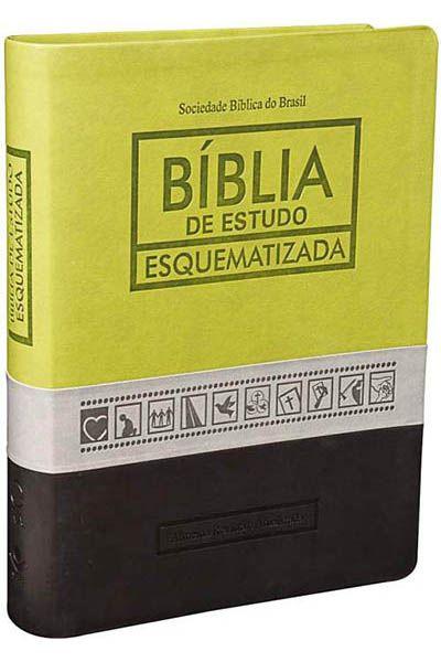 RA085EESQ - Bíblia de Estudo Esquematizada - Luxo - Verde, Cinza e Preto