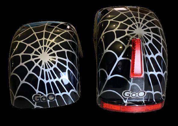 Jogo de Para-lamas Aranha Preto com seta scooter elétrica citycoco