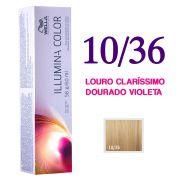 Wella Illumina Color Coloração 10/36 Louro Claríssimo Dourado Violeta 60g