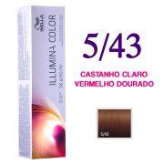 Wella Illumina Color Coloração 5/43 Castanho Claro Vermelho Dourado 60g