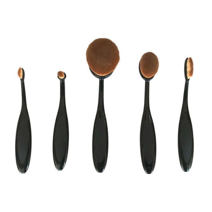 Kit Pincel de Maquiagem Oval com 5 Unidades