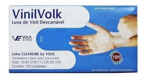 Luva Vinil Volk Cleanline c/ Amido - 100 un.