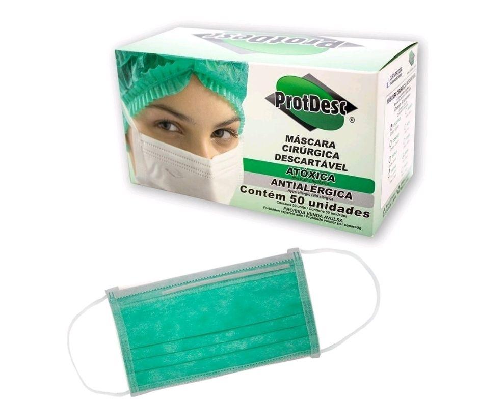 Mascara Tripla Elástico VERDE PROTDESC caixa com 50un