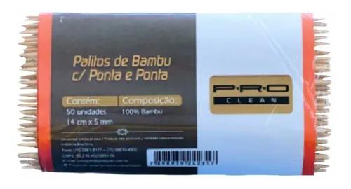 Palito de Bambu c/ Ponta e Ponta 50un.
