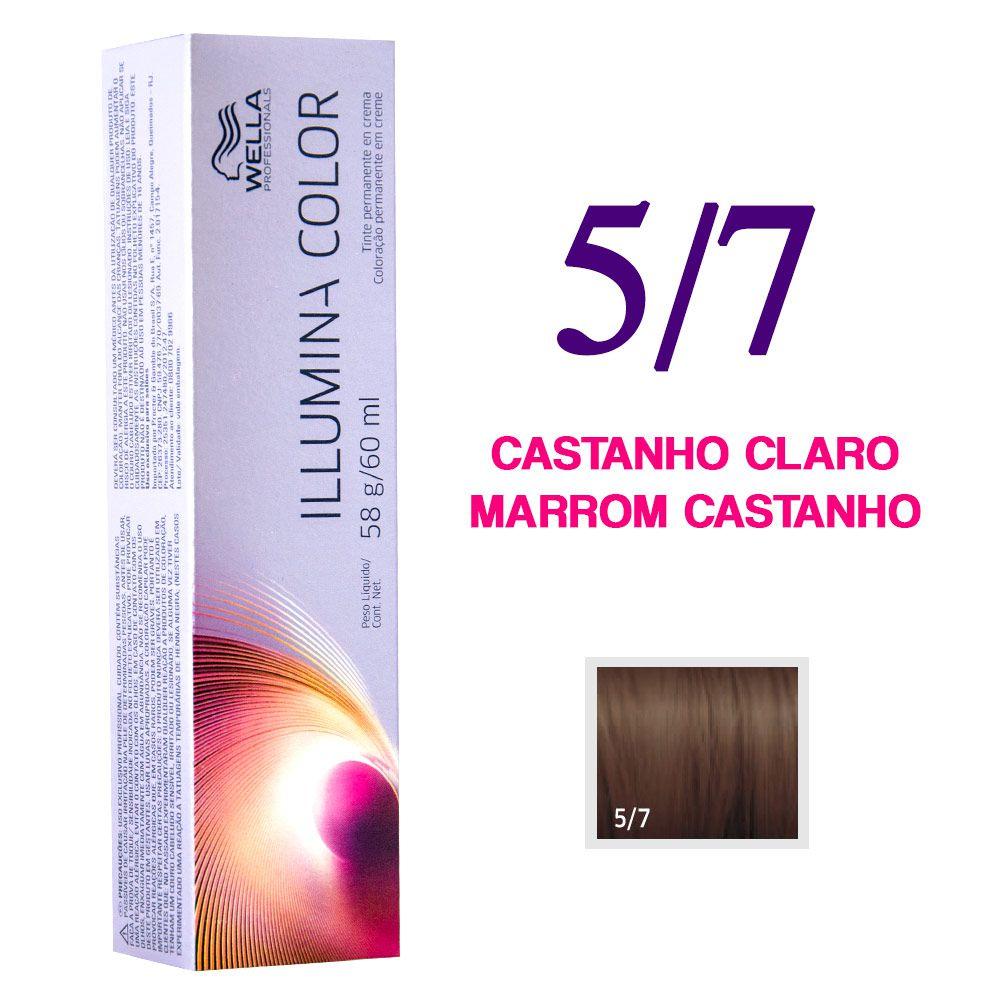 Wella Illumina Color Coloração 5/7 Castanho Claro Marrom Castanho 60g