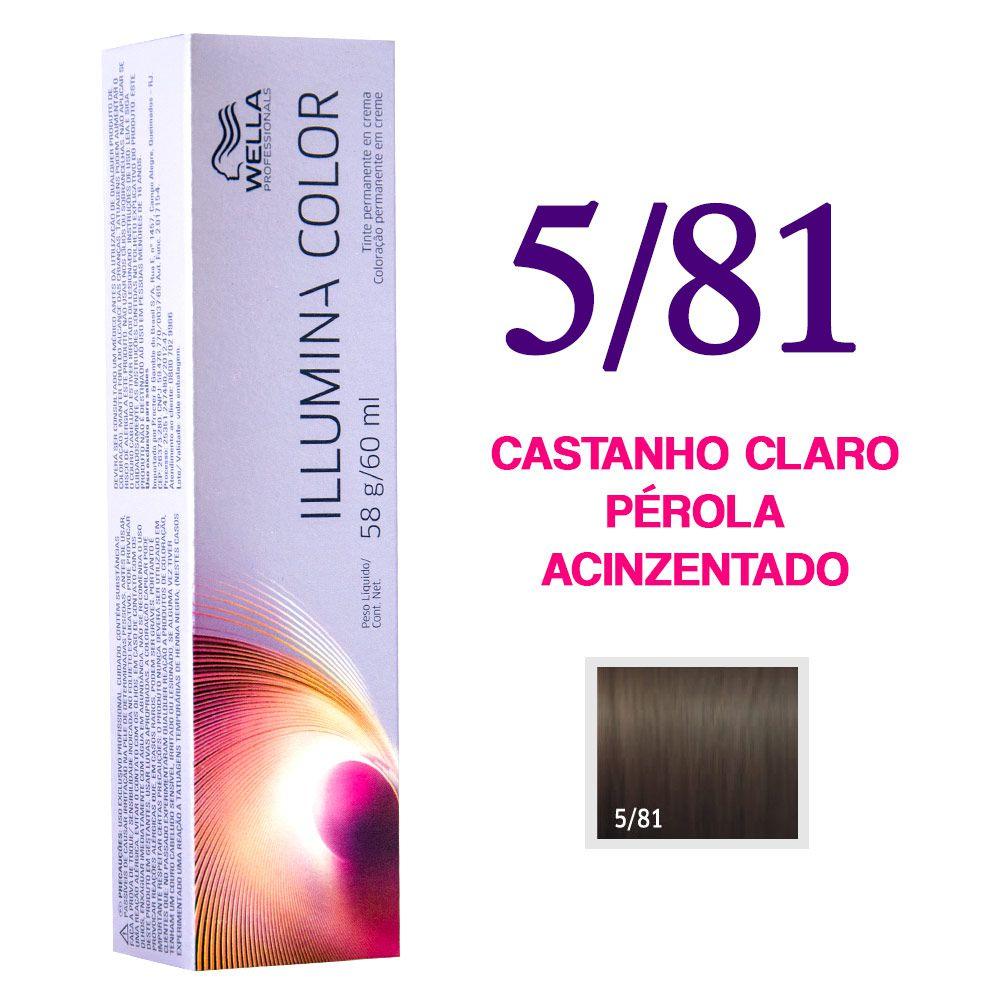 Wella Illumina Color Coloração 5/81 Castanho Claro Pérola Acinzentado 60g