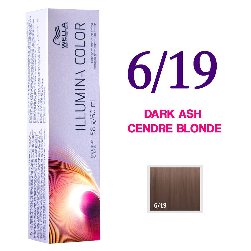 Wella Illumina Color Coloração 6/19 Dark Ash Cendre Blonde 60g
