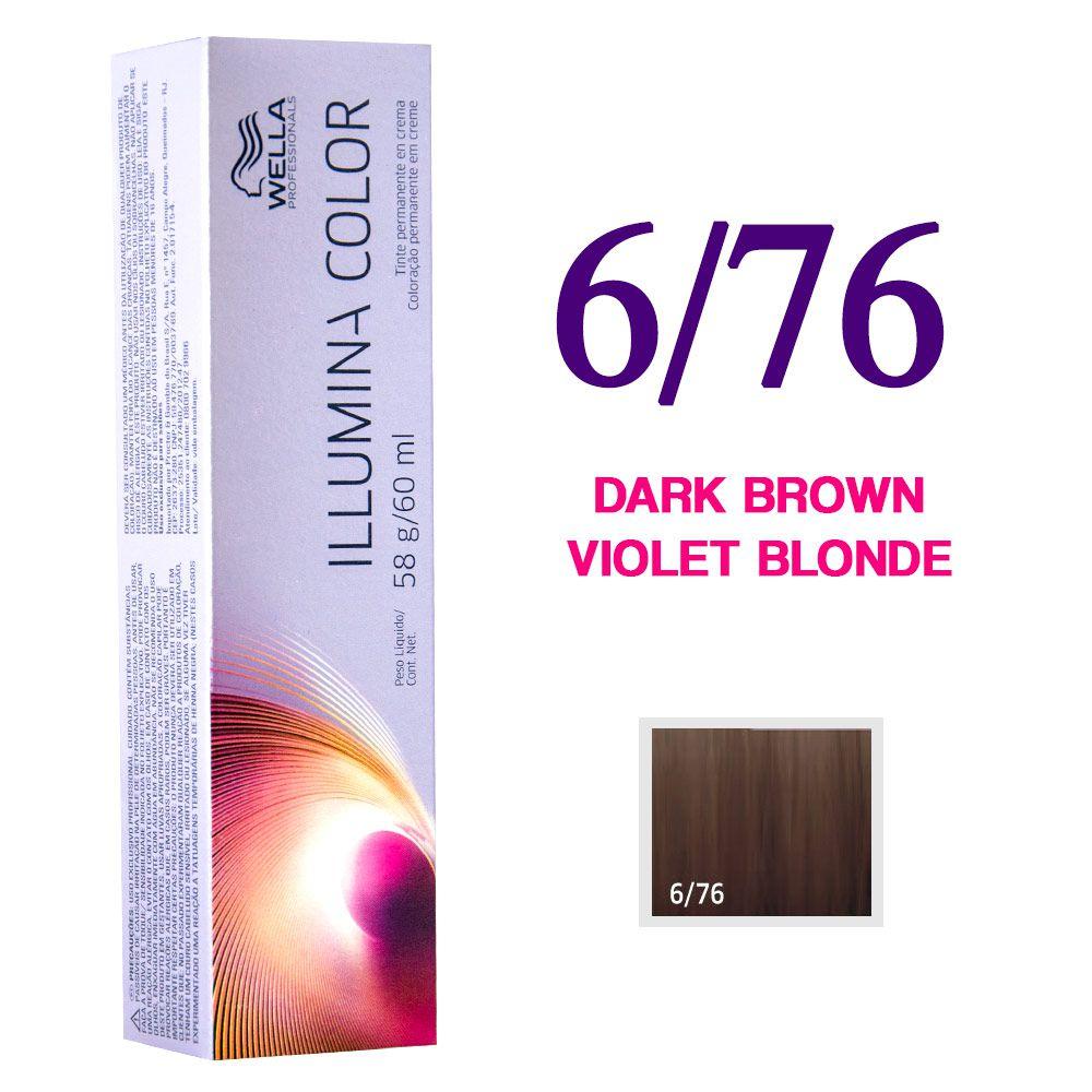 Wella Illumina Color Coloração 6/76 Dark Brown Violet Blonde 60g