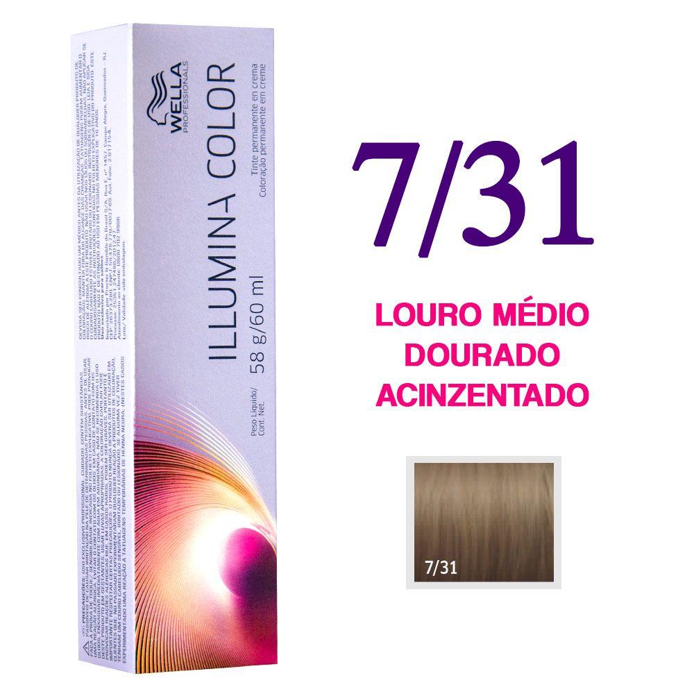 Wella Illumina Color Coloração 7/31 Louro Médio Dourado Acinzentado 60g