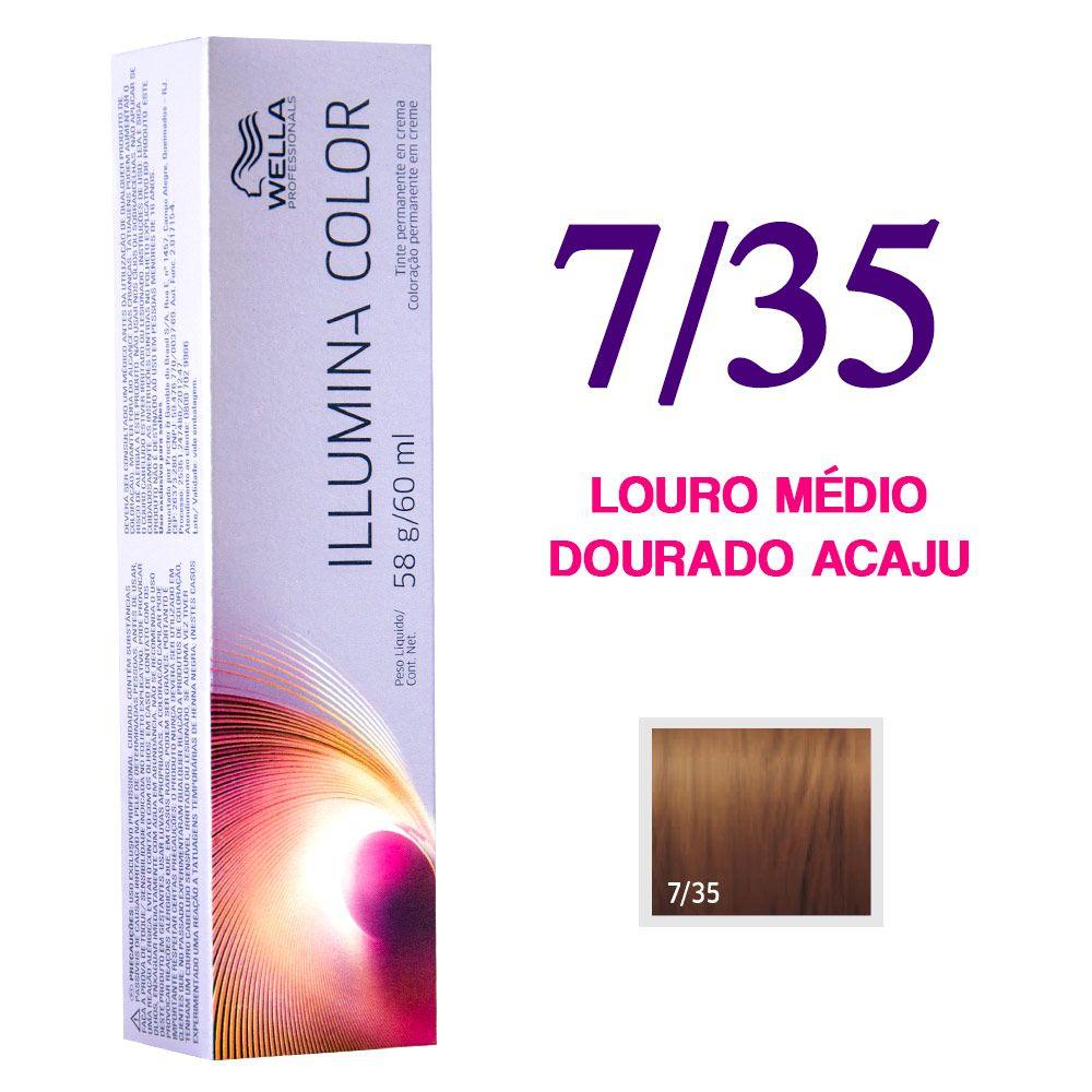 Wella Illumina Color Coloração 7/35 Louro Médio Dourado Acaju 60g