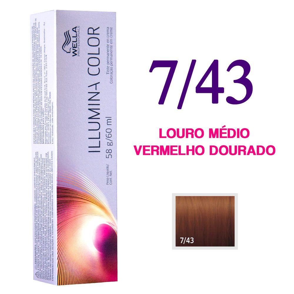 Wella Illumina Color Coloração 7/43 Louro Médio Vermelho Dourado 60g