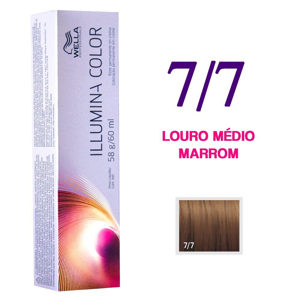 Wella Illumina Color Coloração 7/7 Louro Médio Marrom 60g