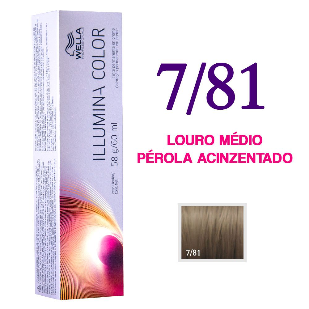 Wella Illumina Color Coloração 7/81 Louro Médio Pérola Acinzentado 60g