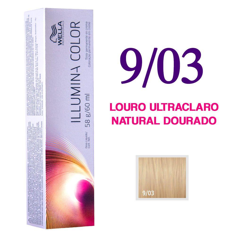 Wella Illumina Color Coloração 9/03 Louro Ultraclaro Natural Dourado 60g