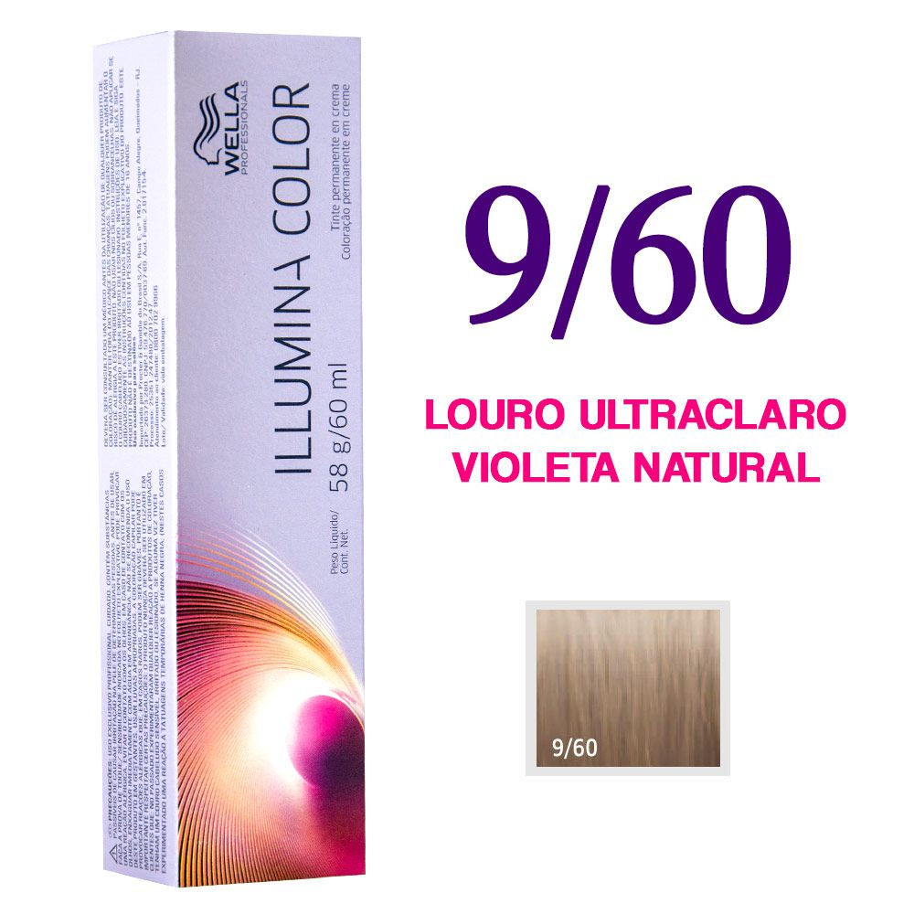 Wella Illumina Color Coloração 9/60 Louro Ultraclaro Violeta Natural 60g