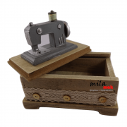 Caixa decorativa em formato de máquina de costura - cinza