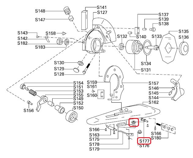 Arruela da Lâmina S-177 para máquinas de cortar tecidos