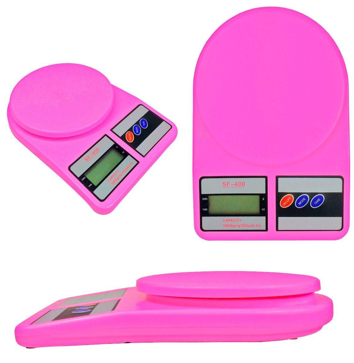 Balança eletrônica digital de alta precisão na cor Rosa Westpress - 1 grama a 10 Quilos.