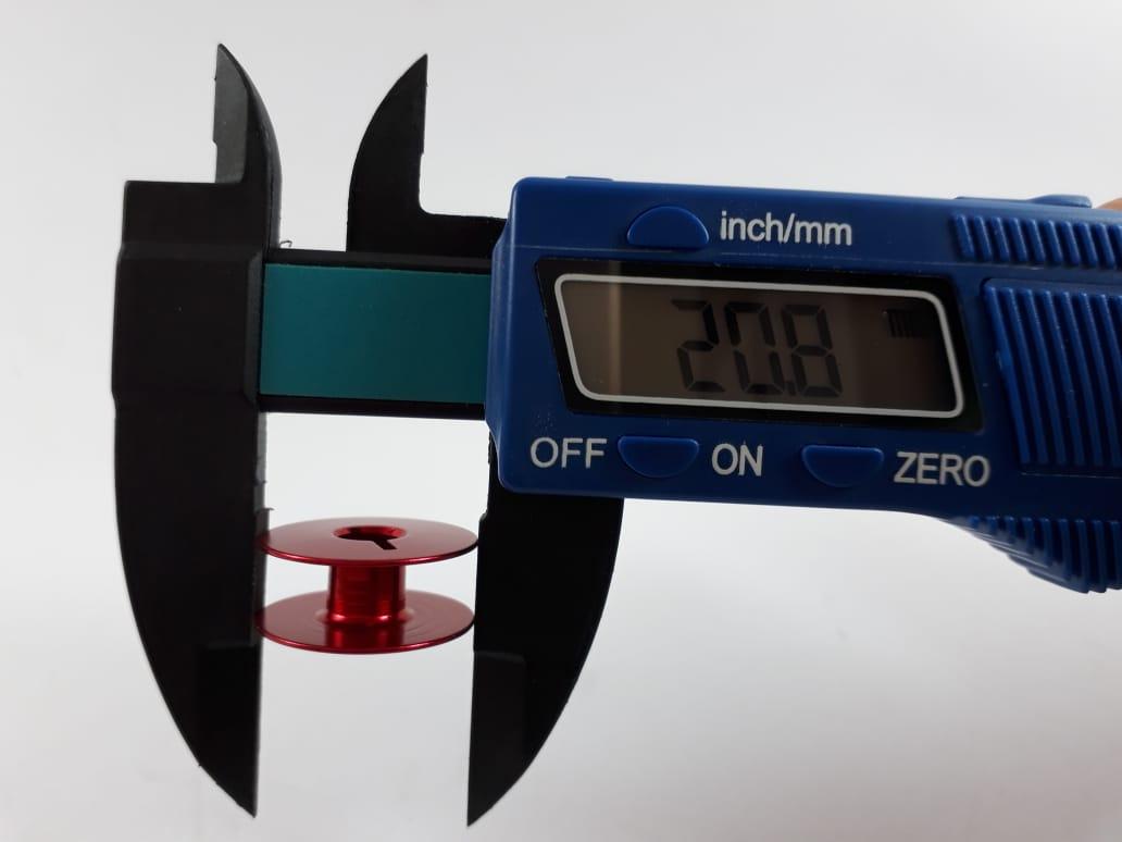 Carretilha de Alumínio Vermelha para Máquina de costura Reta industrial - Caixa com 100 Bobinas - Cor Vermelha