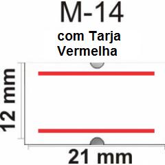 Etiquetas M-14 - Pacote com 10.000 etiquetas com tarja vermelha