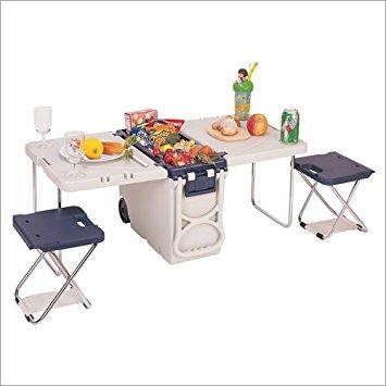 Kit Camping e Praia - Coller com Rodinhas, mesa e bancos, tudo portátil e fácil de transportar