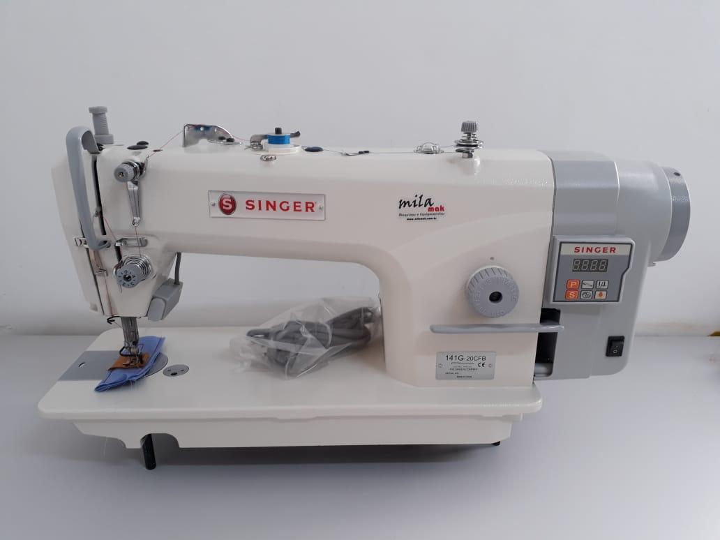 Máquina de Costura Industrial Reta SINGER com Motor Direct Drive, parada de agulha, corte de linha, painel integrado e ponto de até 5 milímetros 141G