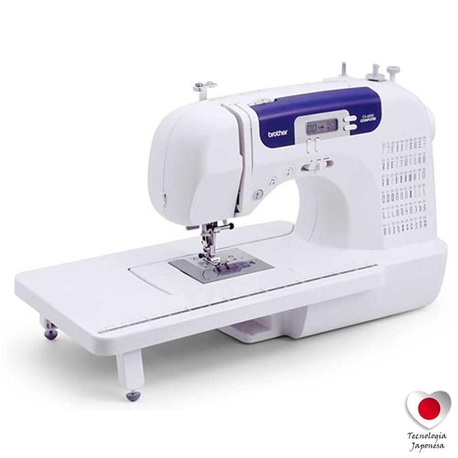 Máquina eletrônica de costura BROTHER CS 6000i com 60 pontos e 7 caseados de 1 passo.