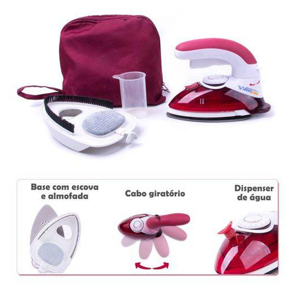 Mini Ferro de passar roupas 2 em 1 - Ferro e Steamer portatil