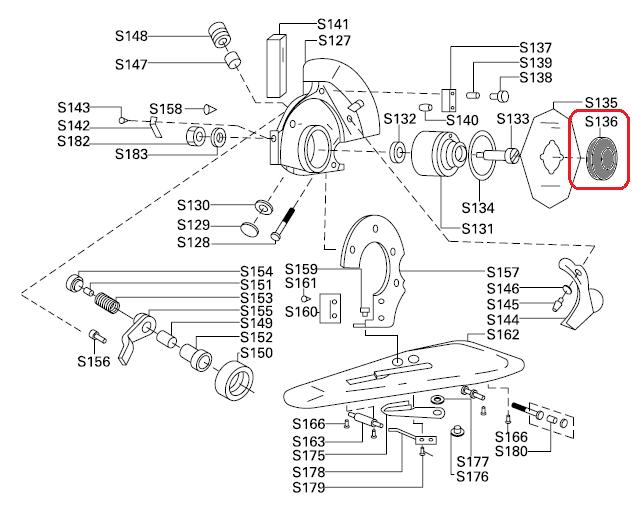 Porca de Travamento do disco S-136 para máquinas de Cortar tecido