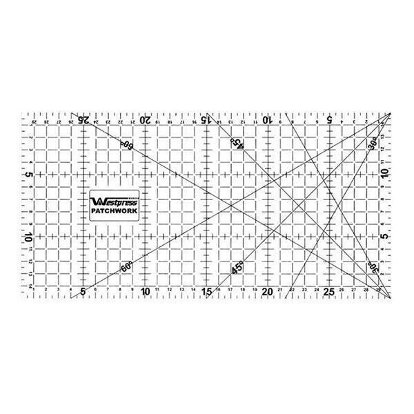 Régua Patchwork  15x30cm com ângulos de 30º, 45º e 60º graus Westpress