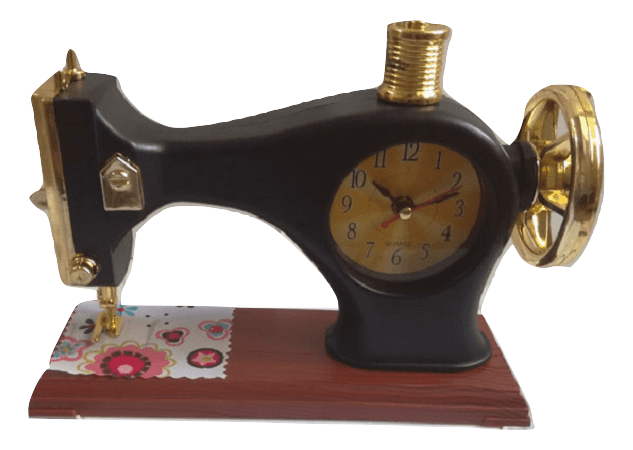 Relógio decorativo com despertador em formato de máquina de costura