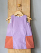 vestido bolsão lavanda/terracota
