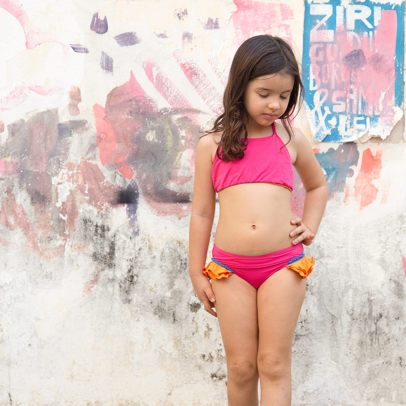 Top avulso Ilhabela rosa e laranja
