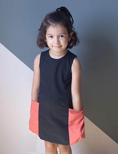 Vestido bolsão preto olaria