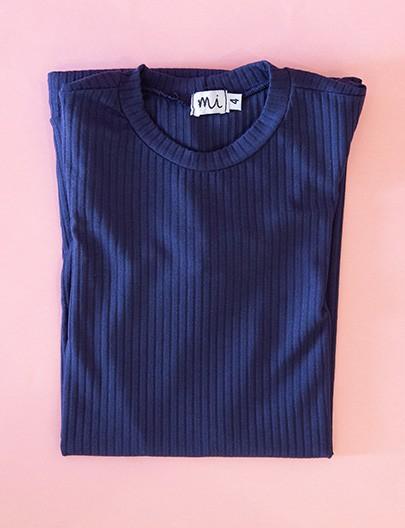 Vestido Canelado Azul