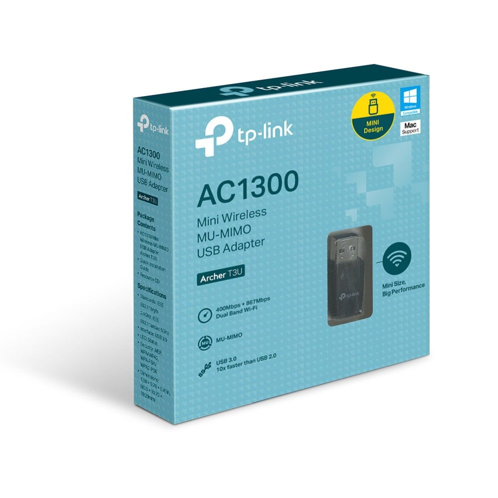 ADAPTADOR USB TP-LINK WIRELESS MINI MU-MIMO ARCHER T3U AC1300MBPS PRETO