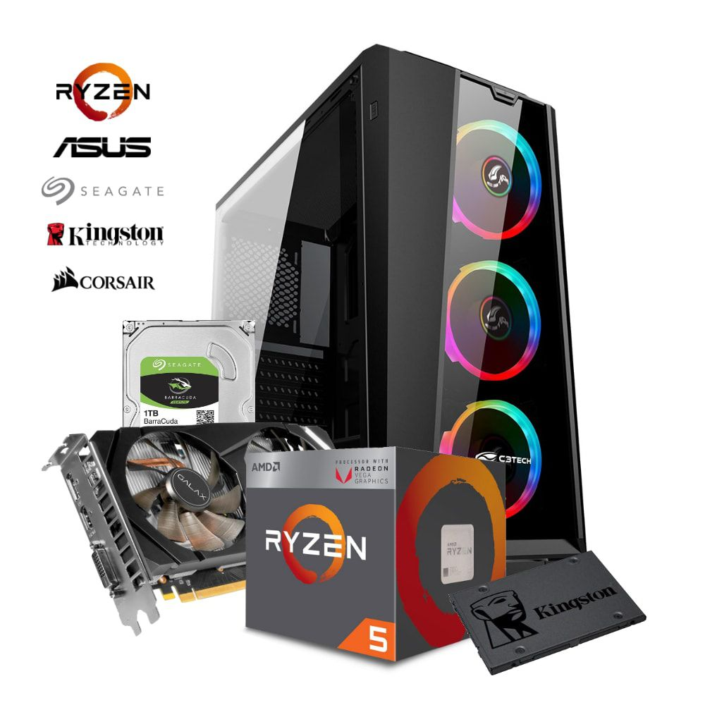 Computador ADVANCED RYZEN R5 2400G, RTX 2060, RAM 8GB, HD 1TB + SDD 120GB