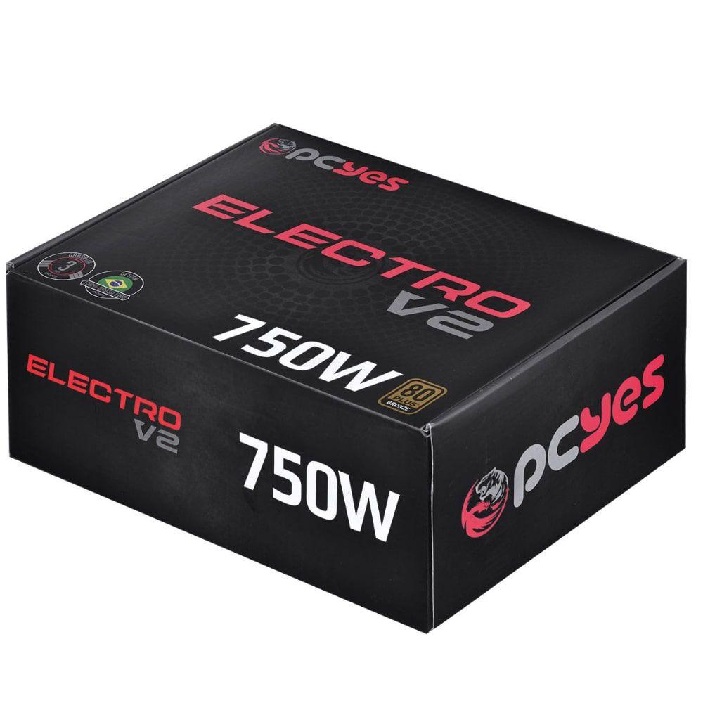 FONTE ATX PCYES 750W REAL ELECTRO V2 SERIES 80 PLUS BRONZE 3 ANOS - ELECV2PTO750W-B