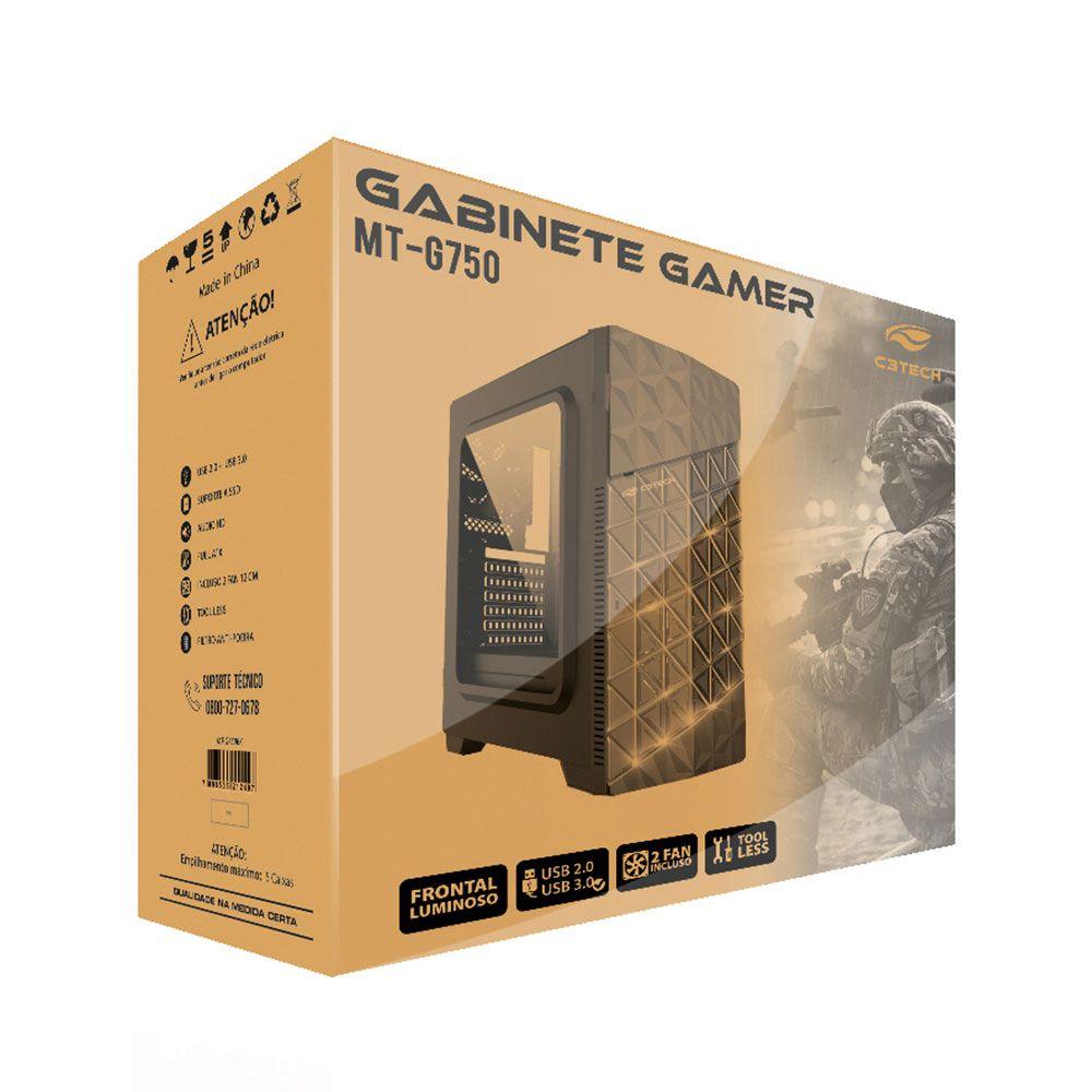 GABINETE GAMER C3TECH MT-G750BK SEM FONTE