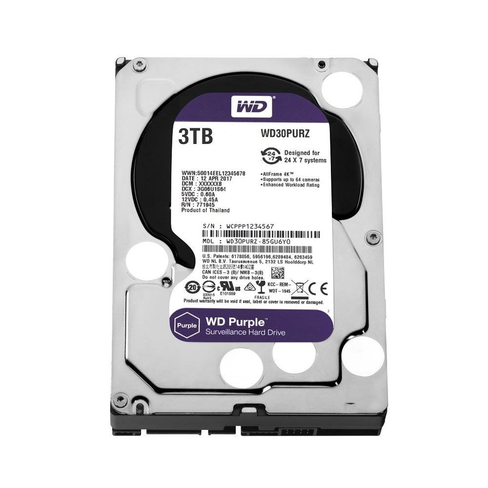 HD INTERNO WESTERN DIGITAL PURPLE 3TB SATA III 5400RPM WD30PURZ